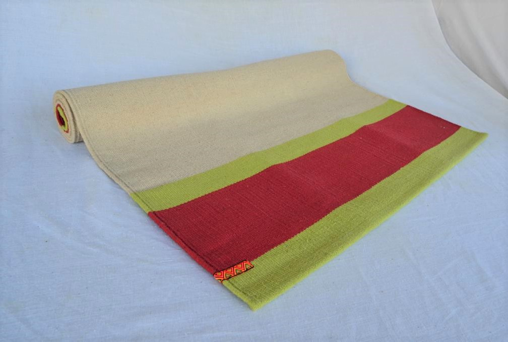 Beige Red - Traditional Mysore Leela Yoga Rug