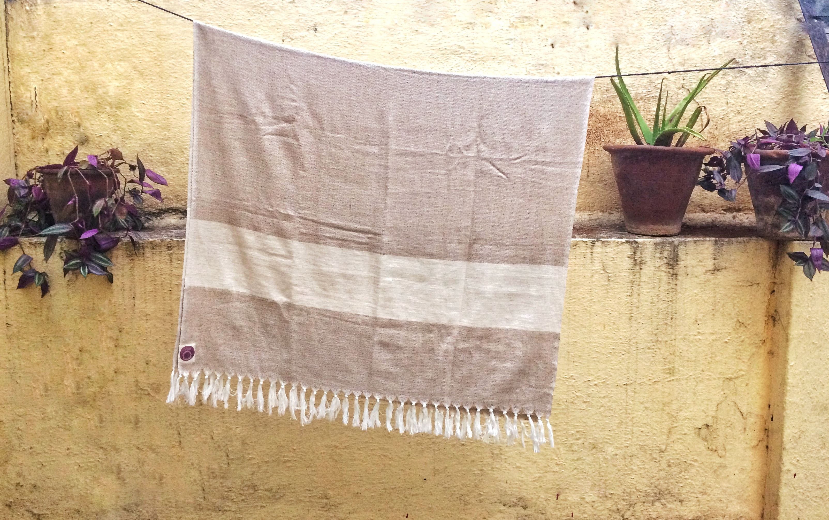 Beige Herbal dyed Organic cotton Yoga towel