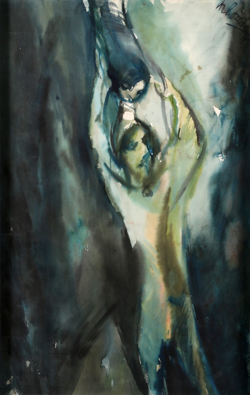 Woman with child - kartón , akvarel, 87 x 56 cm, 1941