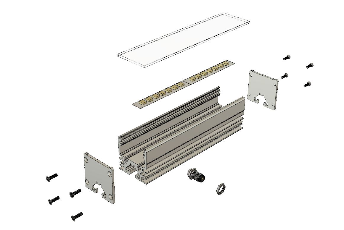 Vizualization of Linear Lamp 8th series with LED strip and sensor connector