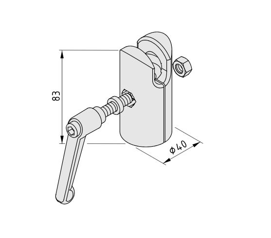 Ball Joint 8, Socket with Clamp Lever