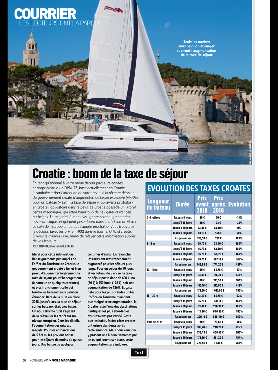 Drastic augmentation of the sojourn tax for boats in Croatia as of 2018.