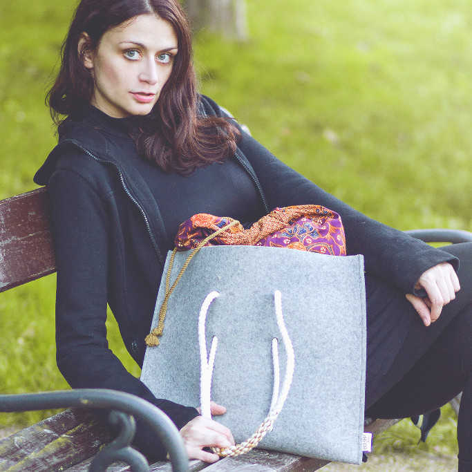 Grey Bag with vintage inner bag