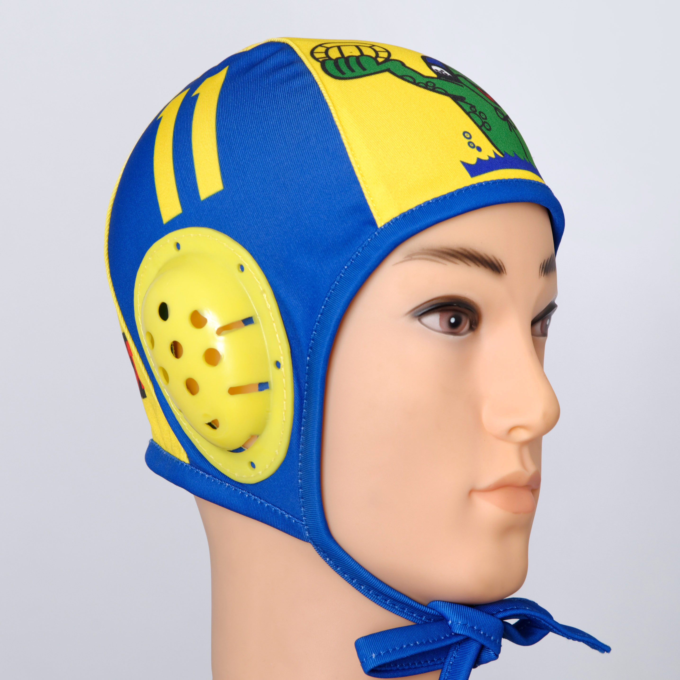 Blue yellow custom water polo cap.