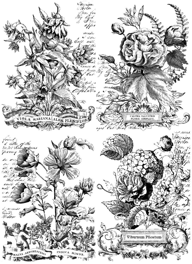 "IOD Paintable Decor Transfers ""Classic Bouquets"" Item number: PAI-TRA-CLA"