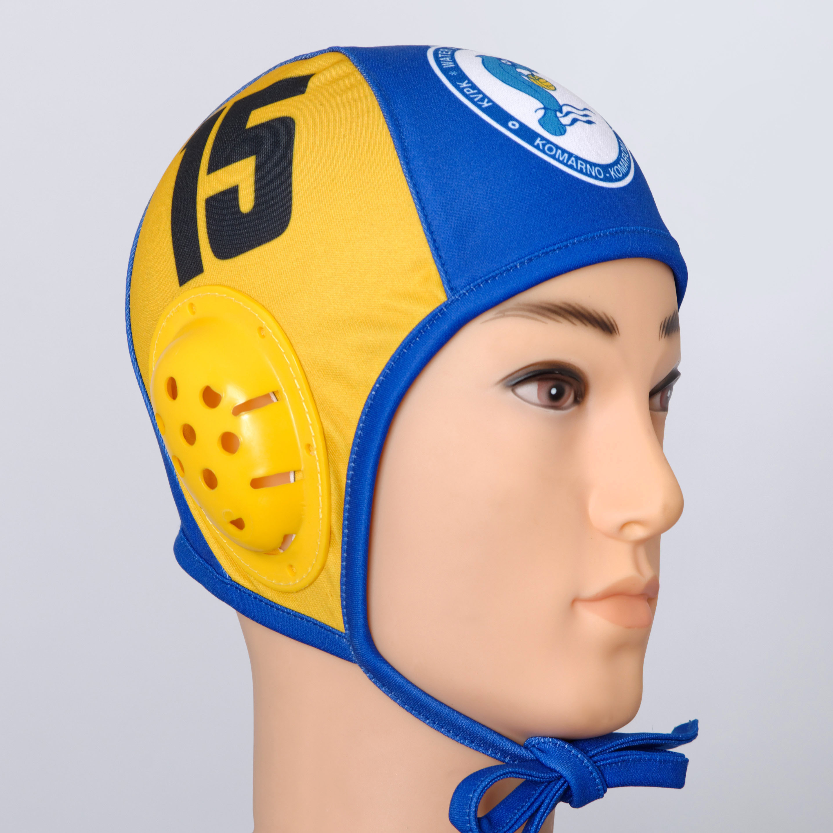 Yellow and blue water polo cap.