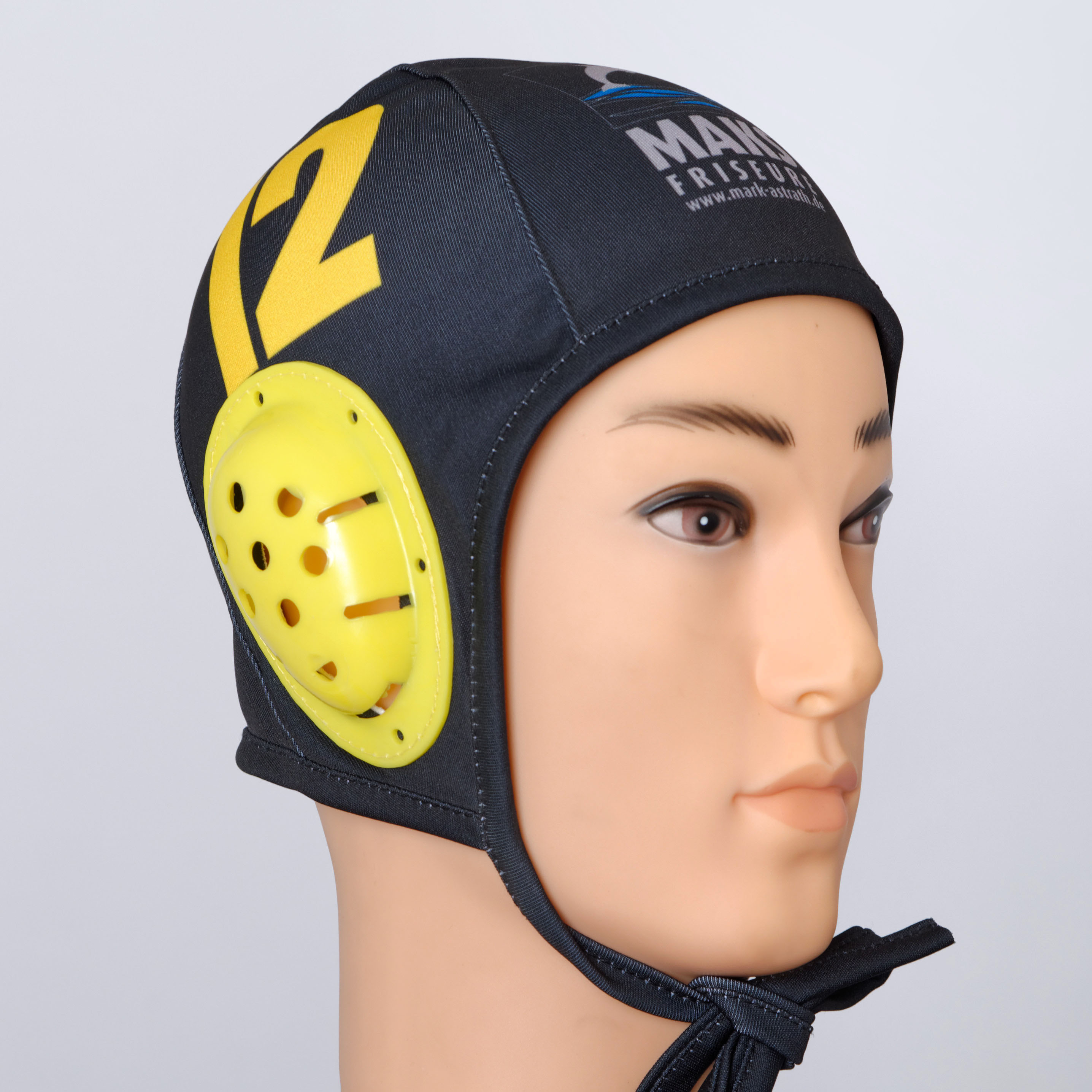 Yellow and black custom water polo helmet.