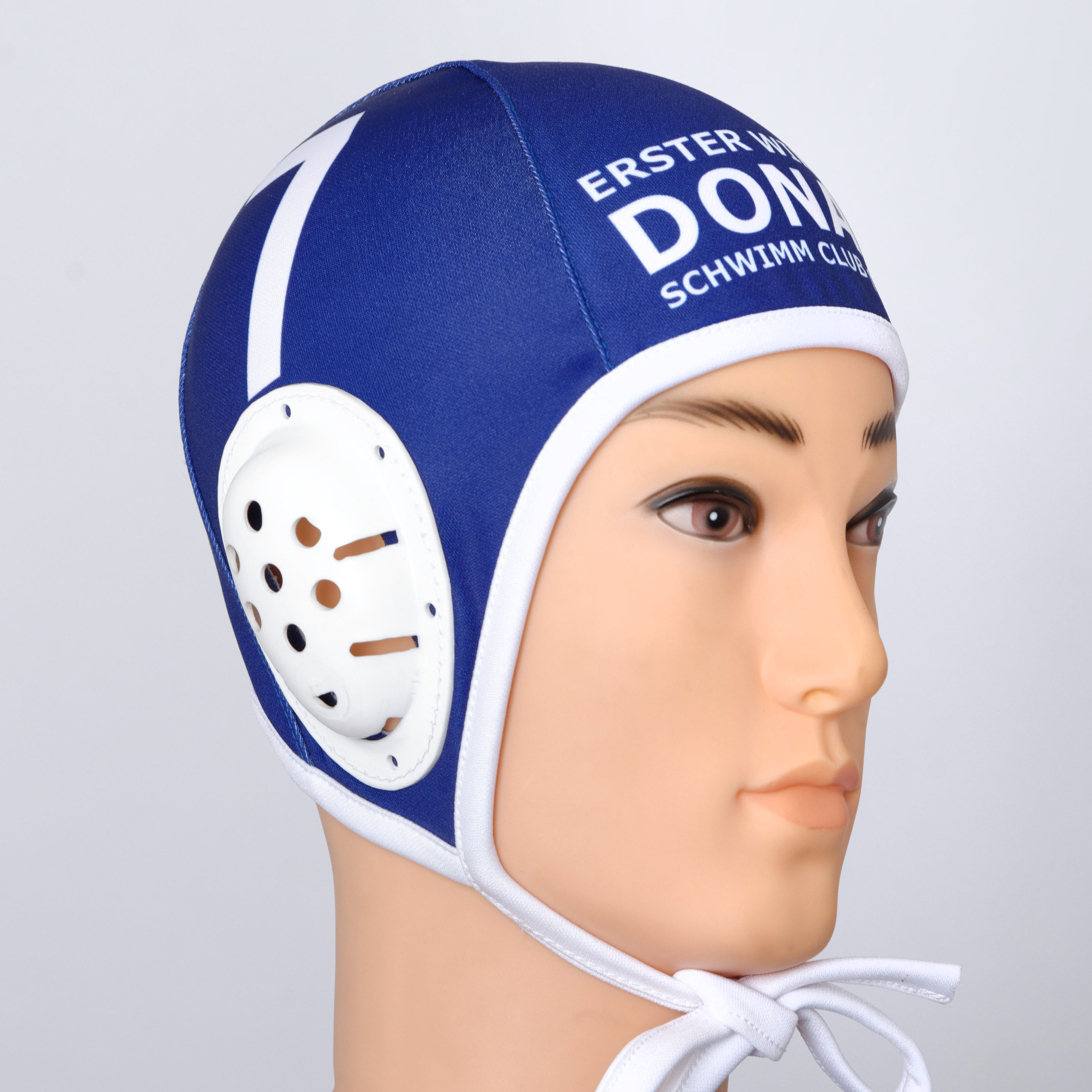 Blue water polo cap.