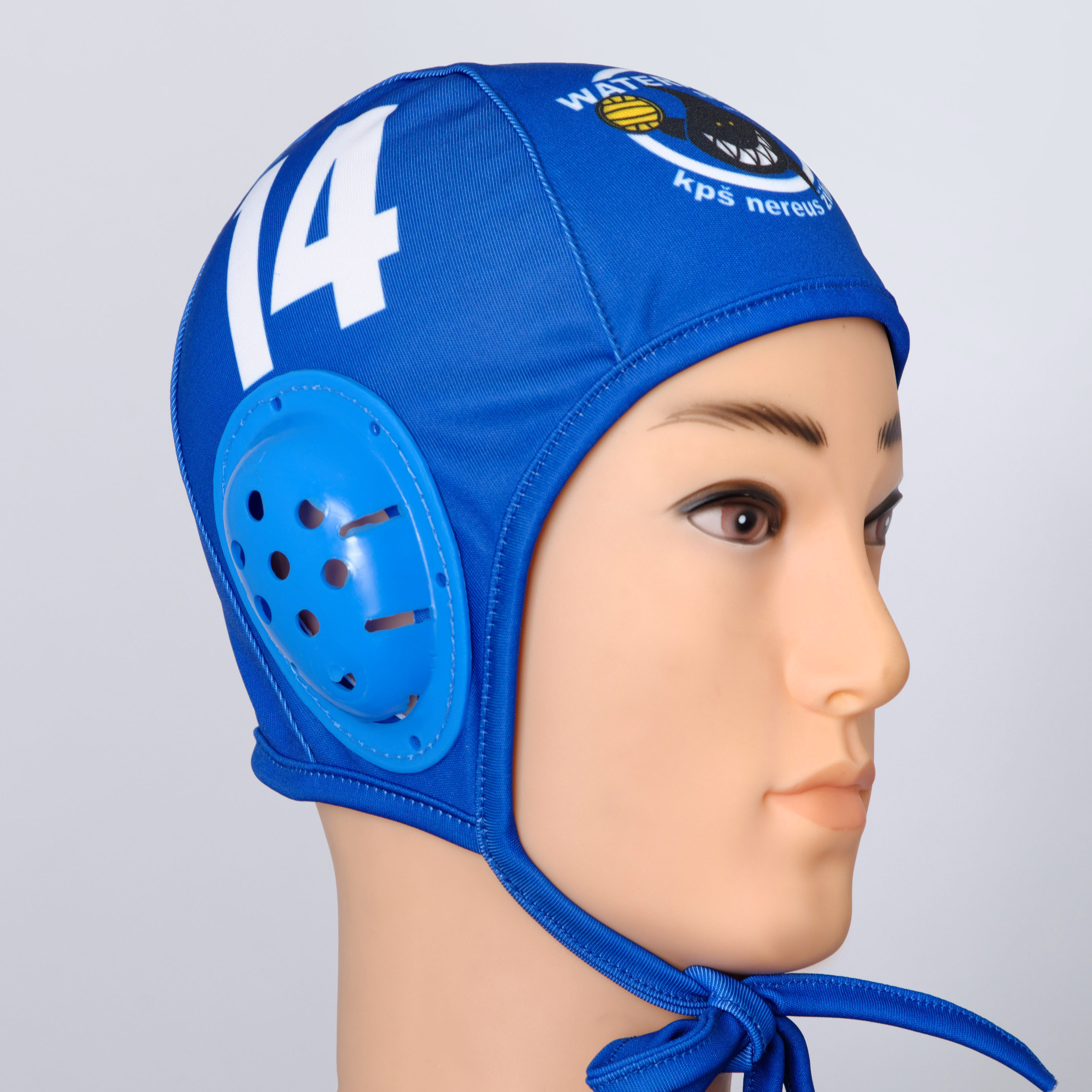 Blue custom water polo cap.