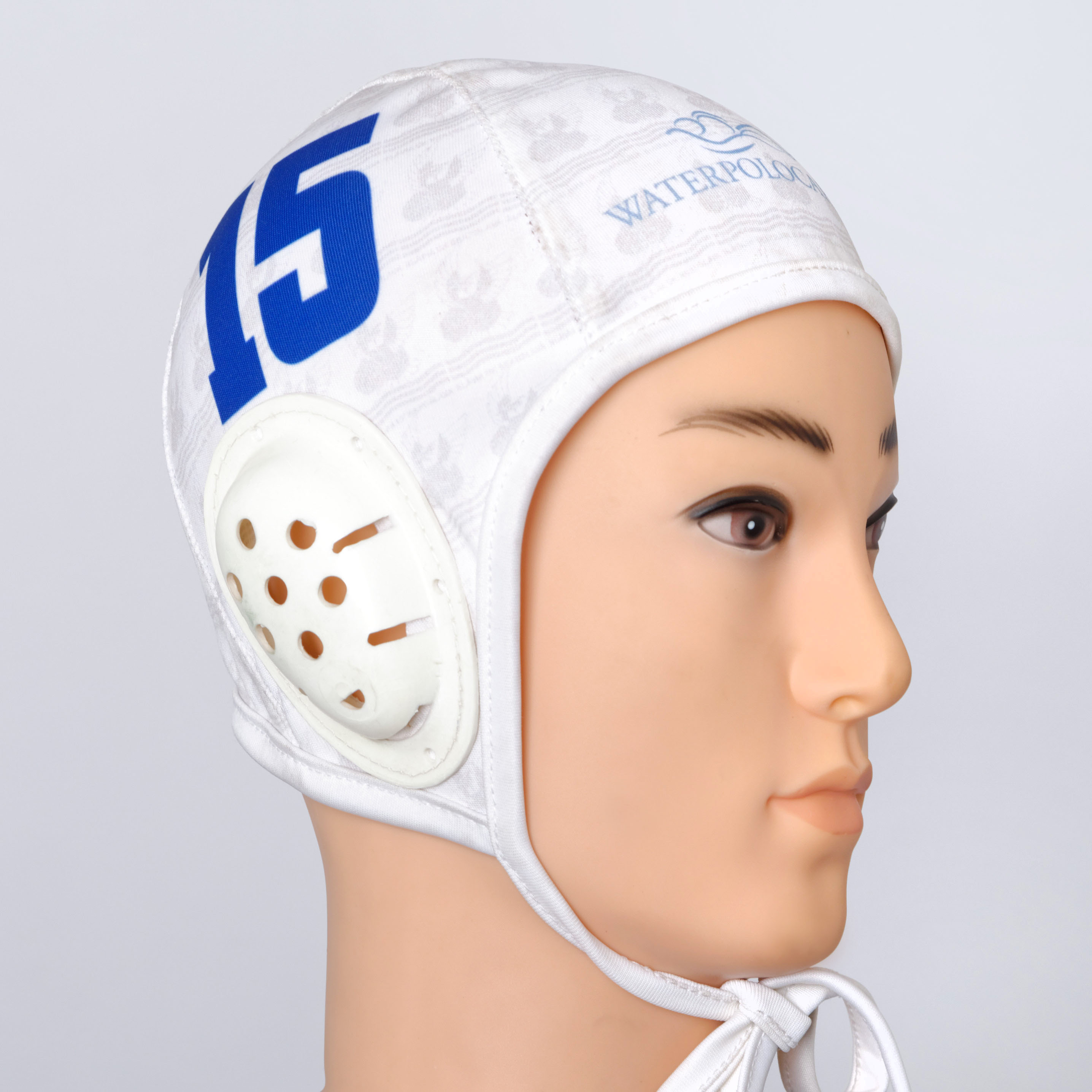White custom water polo cap.