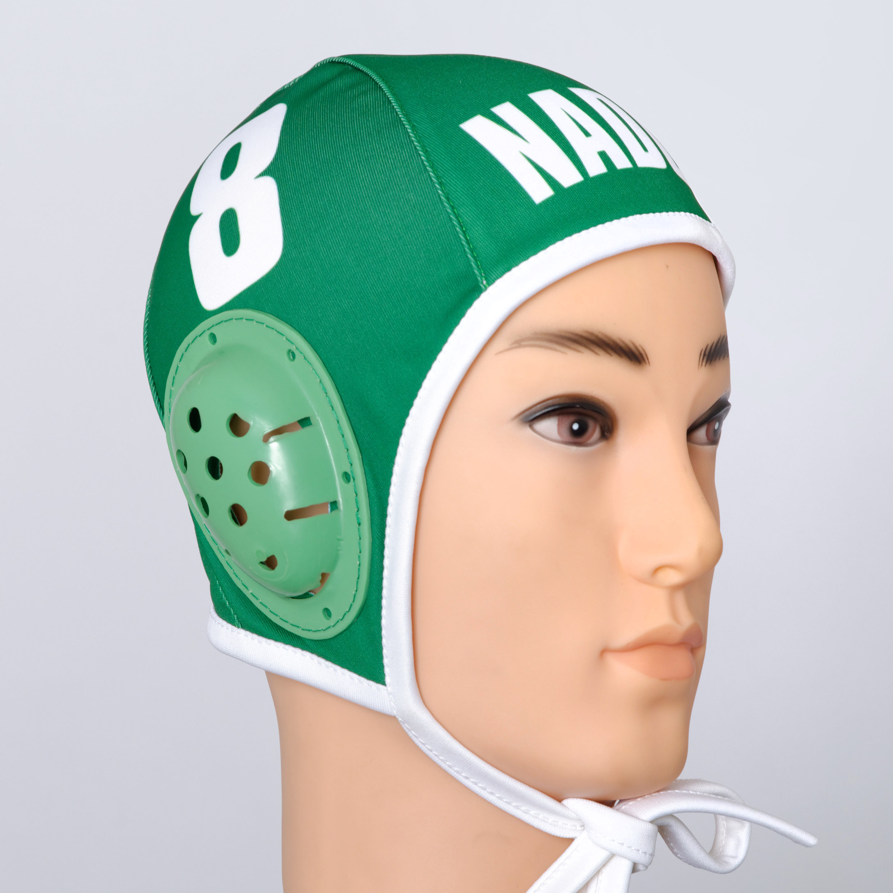 Green custom water polo cap.