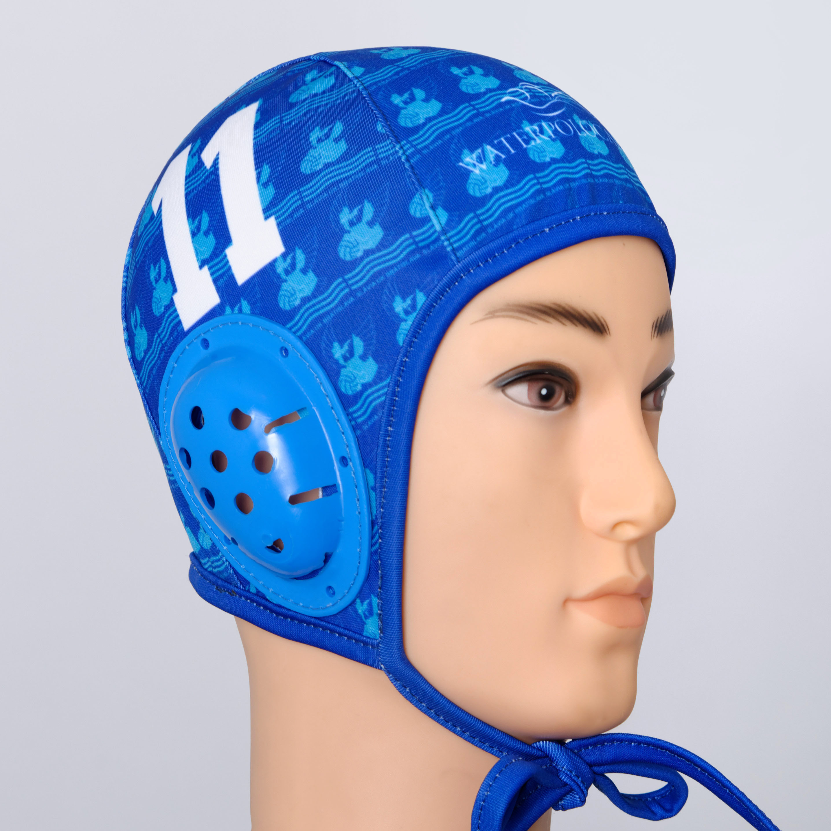 Blue woman's  custom water polo cap.